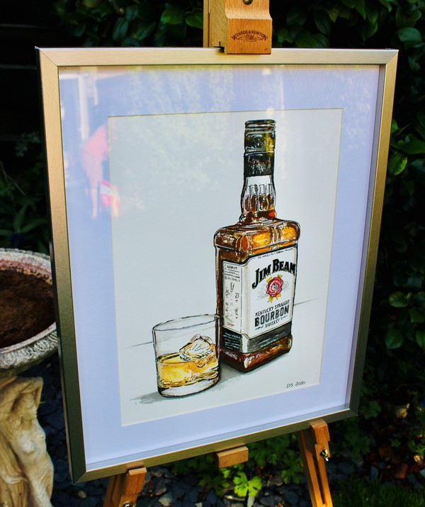 portrait of jim beam bottle and glass