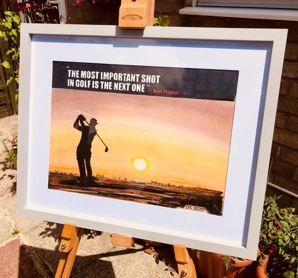 landscape painting of golfer