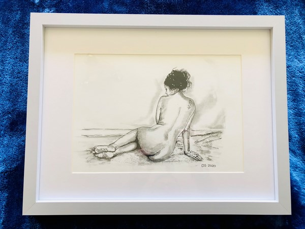 black and white picture of nude woman